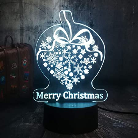 ZCHPDD Niños Feliz Año Nuevo Copos De Nieve 3D Led RGB Lámpara De ...