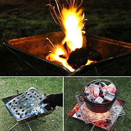 ZHHWYP BBQ Grill, Grill de boîte Se Pliant de Gril de Charbon de Bois,Argent, Outil Pliable de Barbecue pour Le Camping extérieur et Le Jardin approprié à 3-5 Personnes
