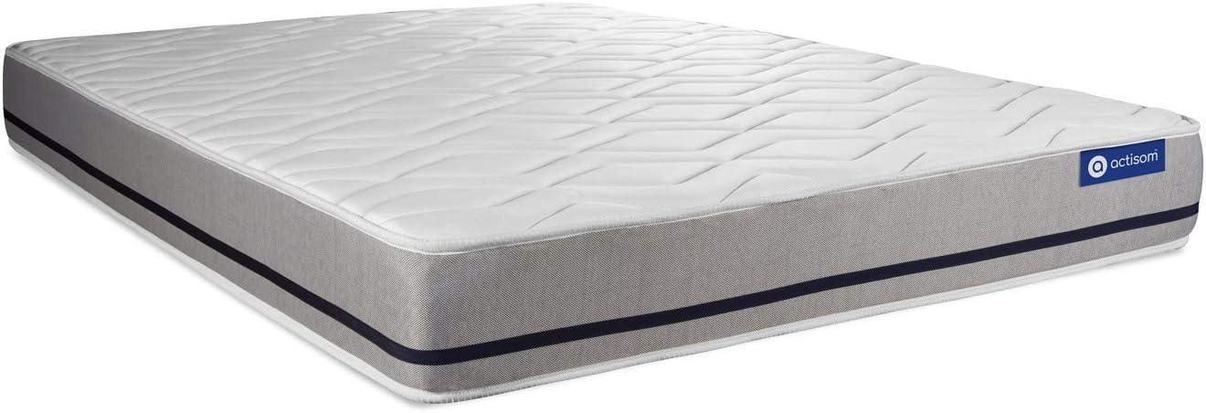 sommier KIT Blanc Epaisseur : 20 cm Ensemble Matelas 140x200 ACTIFLEX Soft 3zones de Confort Confort : Mi-Ferme