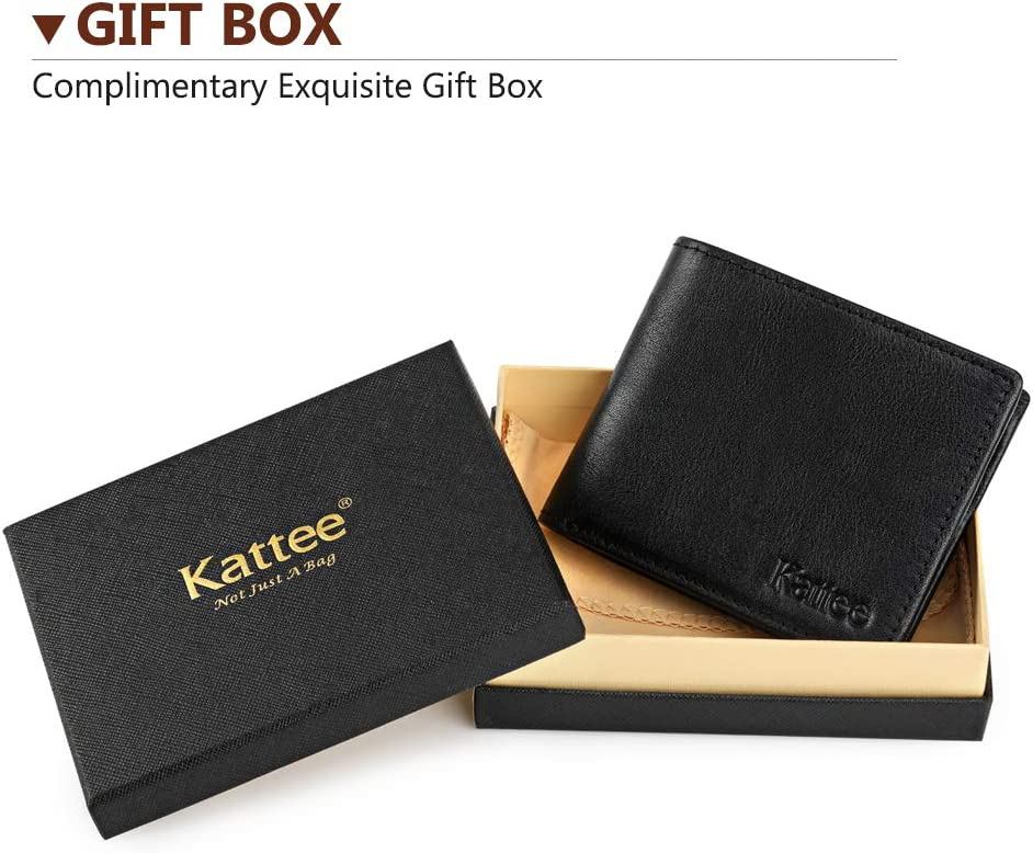 Brown Small Thin Slim Wallet for Men RFID Block with Gift Box for Boyfriend//Husband//Birthday//Fathers Day Black Kattee Genuine Soft Leather Mens Bifold Wallet Minimalist Business Style