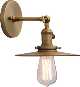 Phansthy Industrial Wall Sconce 1-Light Antique Finished Wall Light Fixture with 7.87 Inches Crafted Canopy and ON/Off Button (Antique)