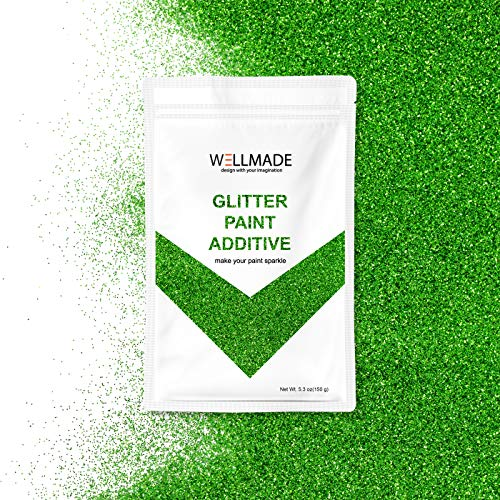 Wellmade Glitter Paint Additive 150g/5.3oz for Wall Paint - Acrylic Latex Emulsion Paint - Interior Exterior Wall, Ceiling, Wood, Varnish, Dead Flat, Matte, Gloss, Satin, Silk (Green)