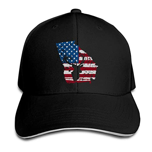 936a359b6 Men's Women's American Flag Georgia Deer Hunting Distressed Trucker ...