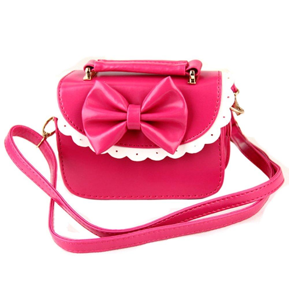 Jiyaru Girl's Lace Leather Princess Shoulder Bag Handbag Bow Rose ZB0332-4