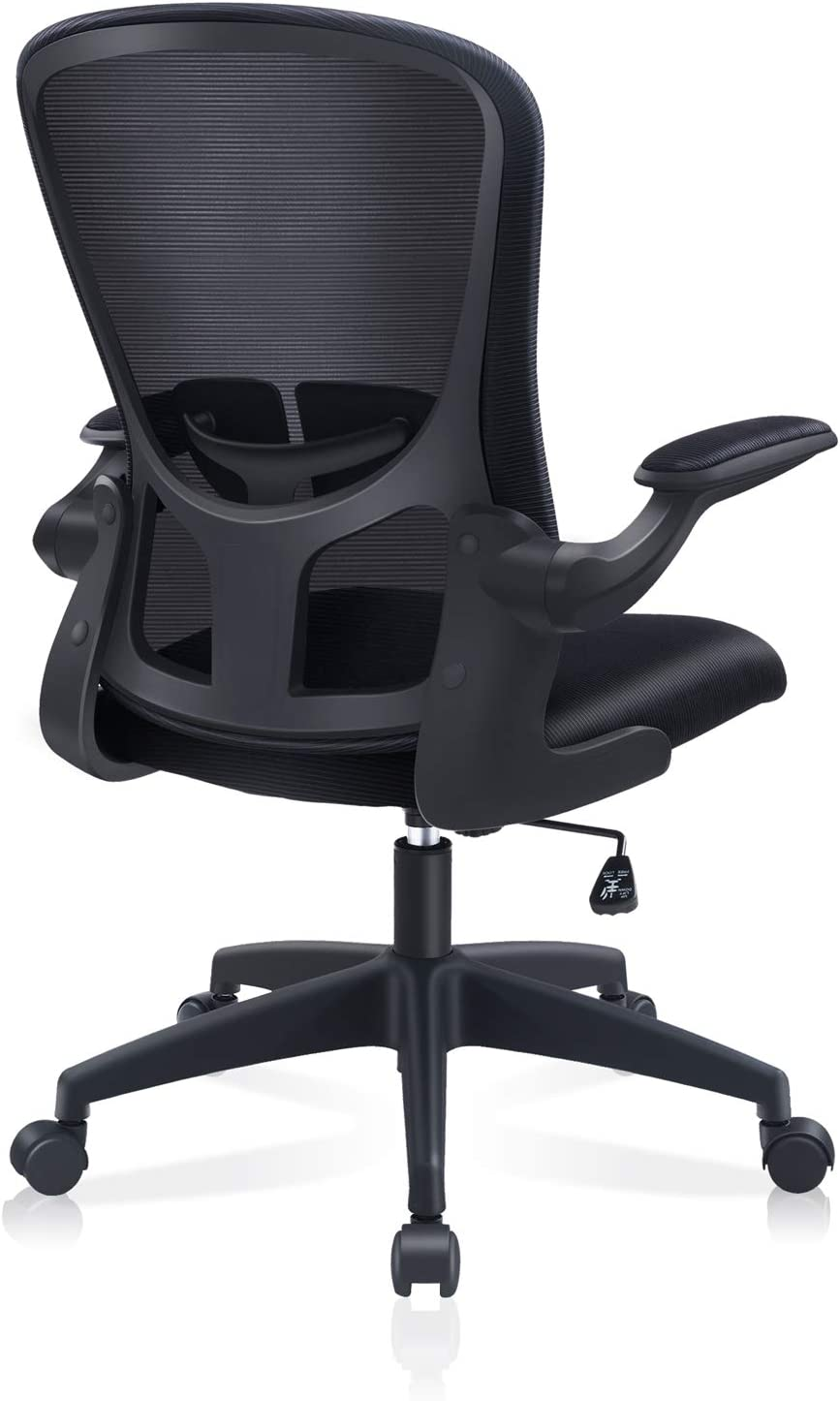 Office Chair, FelixKing Ergonomic Desk Chair with Adjustable Height, Swivel Computer Mesh Chair with Lumbar Support and Flip-up Arms, Backrest with Breathable Mesh (Black)