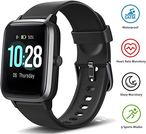 Fitness Tracker Smart Watch with Heart Rate Monitor and 9 Sports Modes,Waterproof Color Touch Screen Activity Tracker with Sleep Monitory, Calorie Counter, Pedometer Sports Watch for Men Women