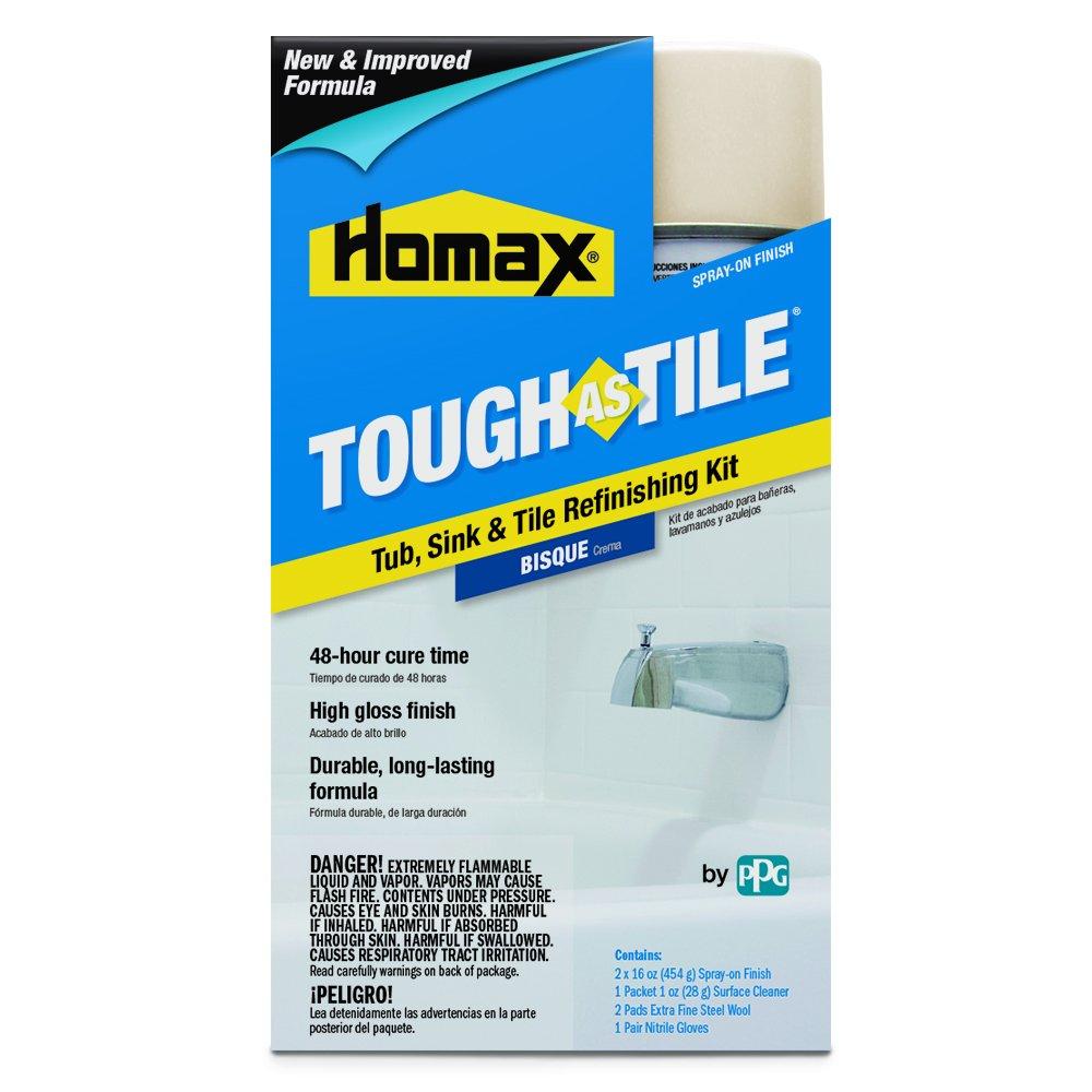Tub and Tile Refinishing Kit, Bisque, 32 oz, Aerosol, Tough as Tile Kit by Homax