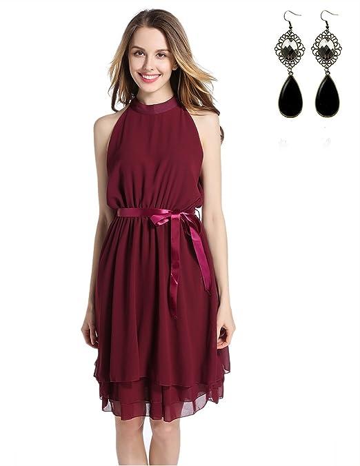 Sitengle Mujer Vestido Fiesta Elegante de Gasa sin Mangas de Cintura Vestidos Dama de Honor Rojo XL: Amazon.es: Ropa y accesorios