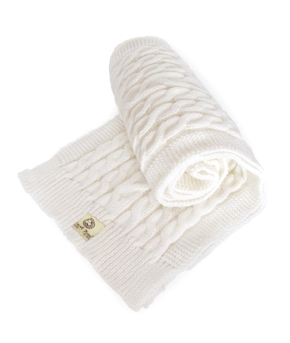 Man Of Aran Men's Rope Knitted Scarf With Shamrock Label Design White Colour