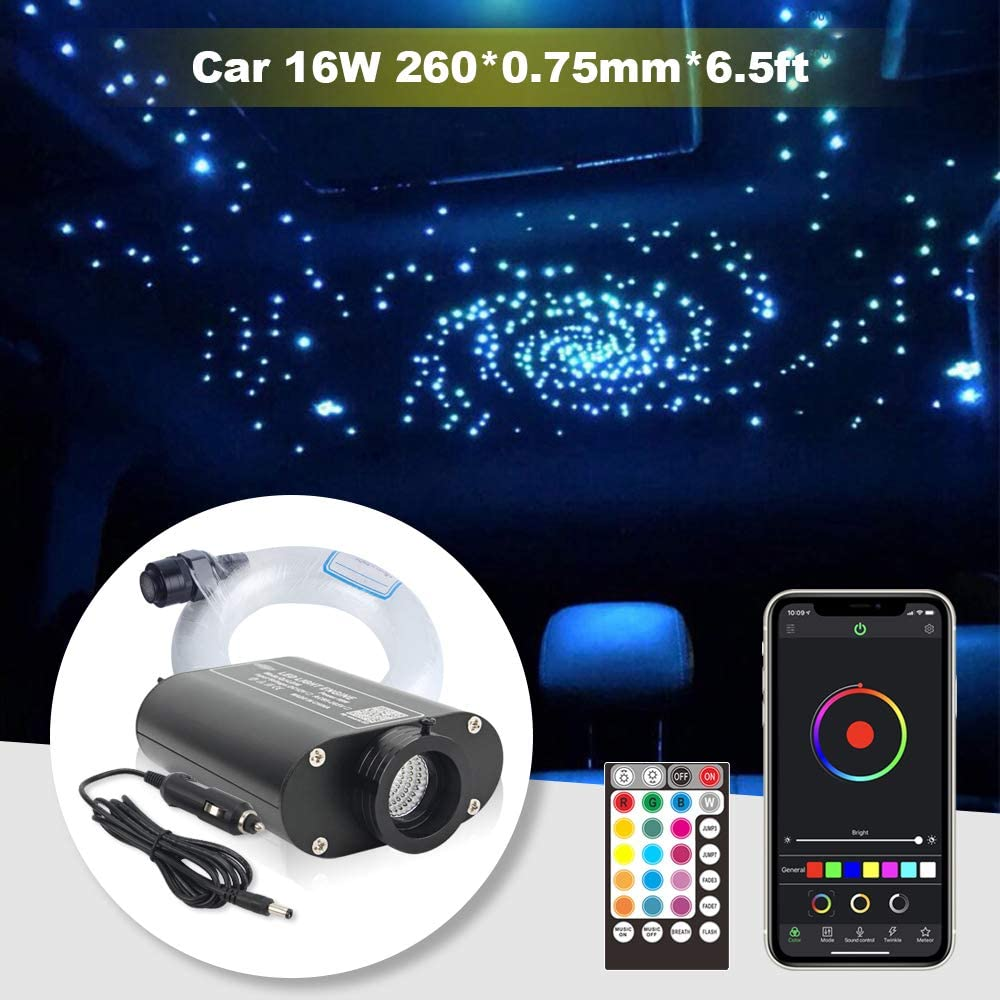 Car Use Bluetooth 16W LED RGBW Fiber Optic Star Ceiling Light, APP/Remote Music Mode Headliner Light Kit 260pcs0.03in6.5ft