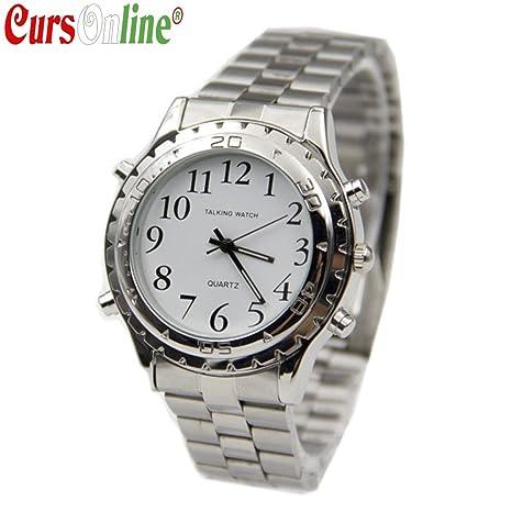 CursOnline® Reloj de pulsera parlante de lingua italiana Metal Doble Horario con instrucciones en italiano