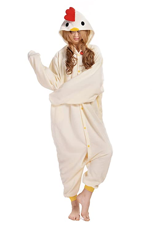 Amazon.com: Adult White Chicken Onesie Pajamas Cosplay Costumes: Clothing