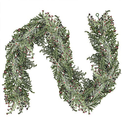 6 Long 4 Wide Artificial Snowy Glitter Cedar Berry Garland Hanging Christmas Cedar Twig Garland Faux Vine Greenery Garland String with Tiny Red Berries for Holiday Season Winter Festival Décor