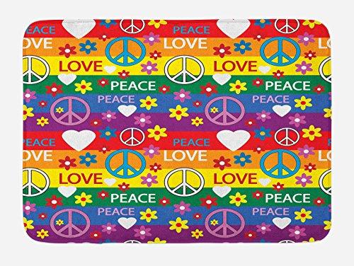 - Ambesonne Groovy Bath Mat, Heart Peace Flower Power Political Hippie Cheerful Colors Festival Joyful, Plush Bathroom Decor Mat with Non Slip Backing, 29.5