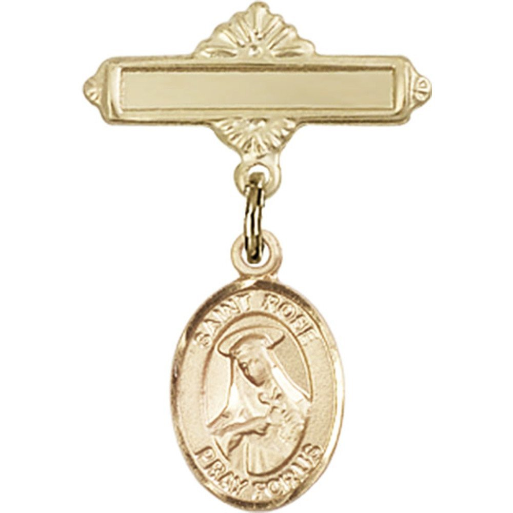 14kt Yellow Gold Baby Badge with St. Rose of Lima Charm and Polished Badge Pin 1 X 5/8 inches by Unknown