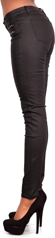 Pantalon slim pour femme LustyChic Aspect cuir Noir Taille 36-42