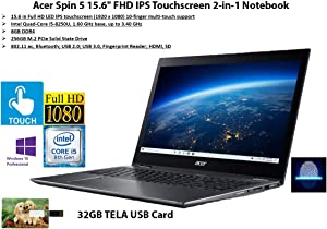 "2020 Newest Acer Spin 5 15.6"" FHD IPS Touchscreen 2-in-1 Notebook, Intel Quad-Core i5-8250U, 8GB DDR4, 256GB SSD, Fingerprint Reader, Windows 10 Pro 