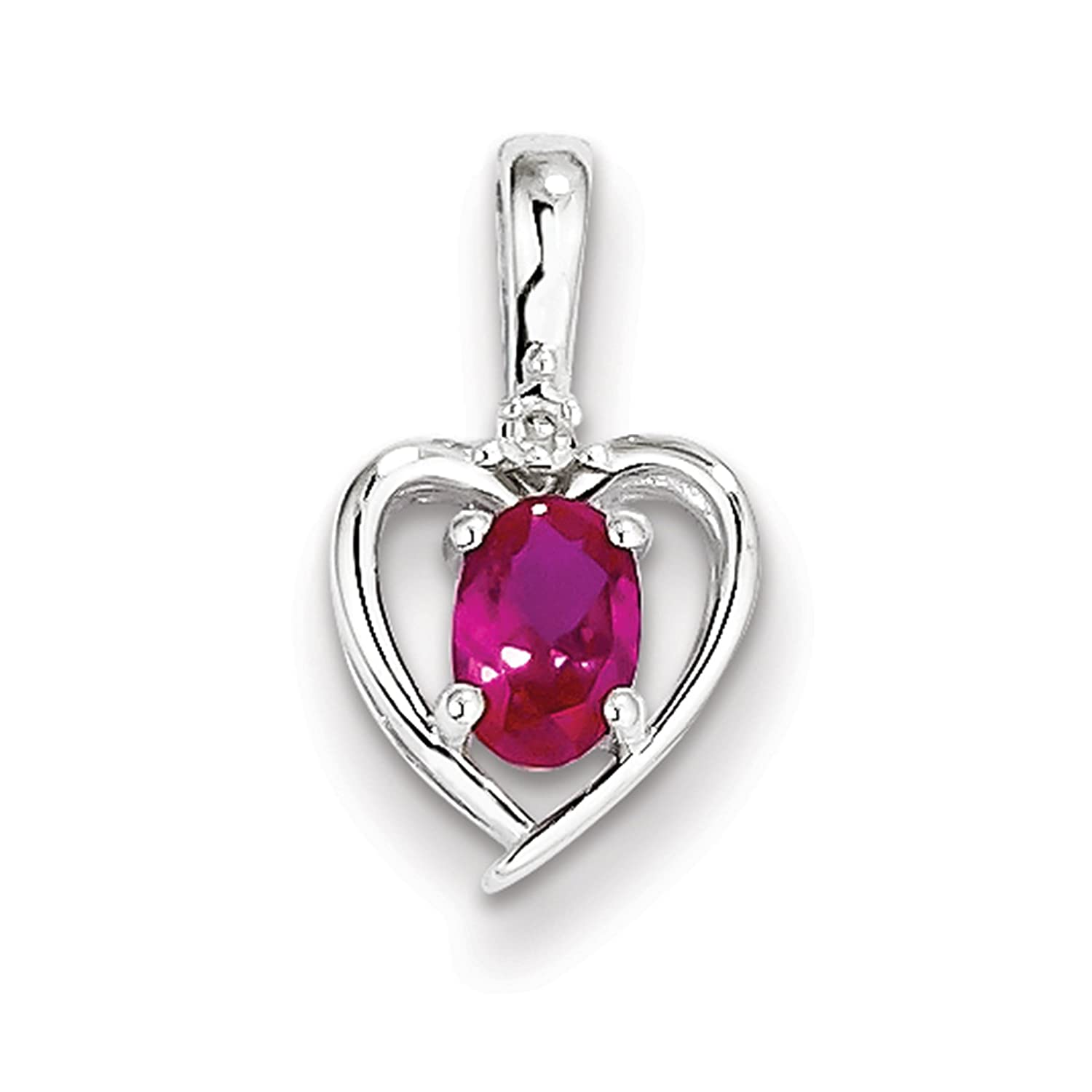 925 Sterling Silver Rhodium-finish Diamond /& Created-Ruby July Stone Heart Pendant