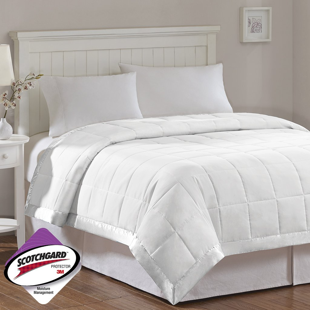 Madison Park Windom Microfiber Down Alternative Stain Resistant Blanket, Full/Queen, White by Madison Park