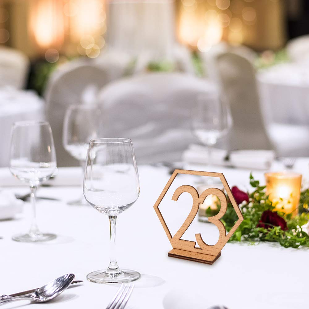 Joy-Leo 4 Inch DIY Rustic Wooden Wedding Party Table Numbers with Sturdy Holder Base for Banquet Wedding Party Reception Centerpiece Decoration NO. 1-20 Gold Partner of Place Cards
