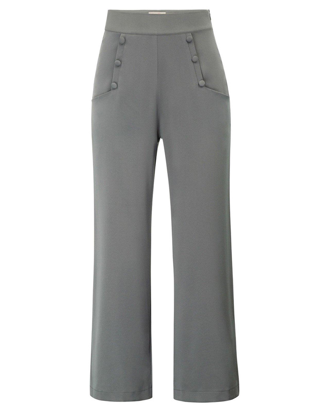 Belle Poque Women's Summer Cool High Waist Wide Leg Pants Gray Size S BP566-2