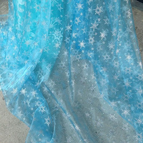 Light Blue Shiny Sheer Organza Silver Glitter Snowflake Fabric By the (Elsa Dress Fabric)