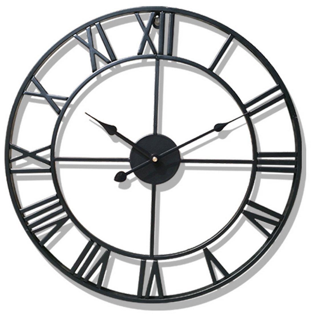 TXXCI Orologio da muro Silenzioso Vintage 50CM, Grande Orologio da Parete in Ferro Decorazione per Soggiorno Cucina Studio size 50 * 50 * 4 cm (Nero)