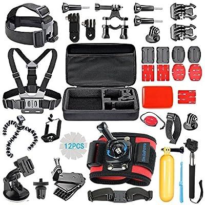 SmilePowo 42-in-1 Accessory Kit for GoPro Hero5 Black, Hero5 Session, Hero4 Silver Black, Hero Session, Accessory Bundle Set for GoPro Hero3+ 3 2 1, SJ Cam Xiaomi from SmilePowo