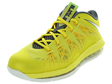 Nike Men\u0027s Air Max Lebron X Low Basketball Shoes Sonic Yellow/Sl/Cl Gry