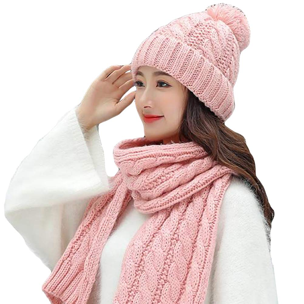 Grey E-House Popular Hat Winter Women Solid Color Pompom Warm Thick Knitted Hat Beanie Cap Scarf Set