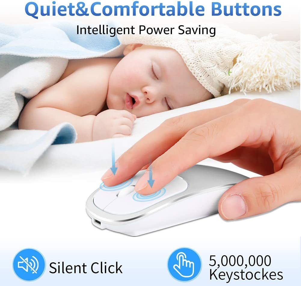 Office Business Mouse Automatic Sleep Bluetooth Mouse with Mute Button for Laptop PC Notebook Computer Games and Work,Gold Long-Lasting Battery Life