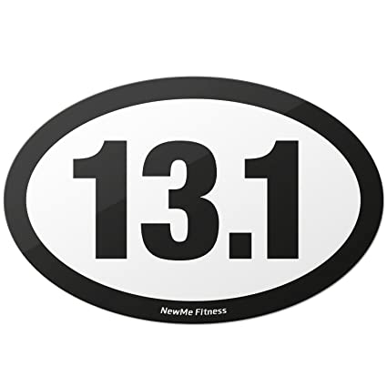 Newme fitness 13 1 half marathon black oval car magnet decal heavy duty waterproof