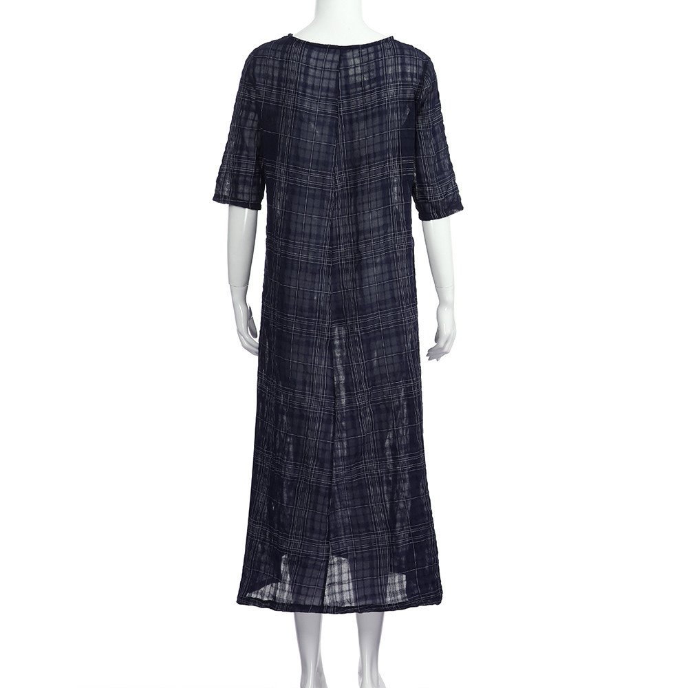 HTDBKDBK Women Summer Casual Plaid 1//2 Sleeve Loose Cotton Linen Dress Split Hem Long Maxi Dress Long Dress