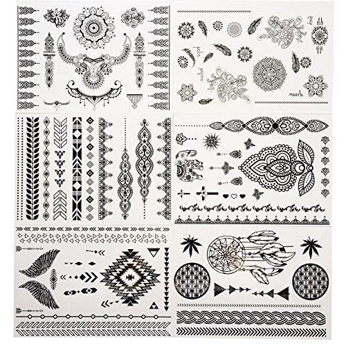 GIFT!!Tastto 6 Sheets Henna Body Paints Temporary Tattoos Black Lace Stickers for Girls and Women with (Tribal Print Tattoos)