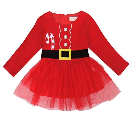 e49107d96b59 Jurebecia Baby Girls Christmas Dress Toddler Girls Long Sleeve Outfit Tutu  Dress Birthday Dress Size 2T