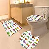 3 Piece large Contour Mat set Baby Fish Cre in Colors with Lines and Circles Childish Fauna Print Fabric Set with Bathroom Rugs Contour Mat Lid Toilet Cover