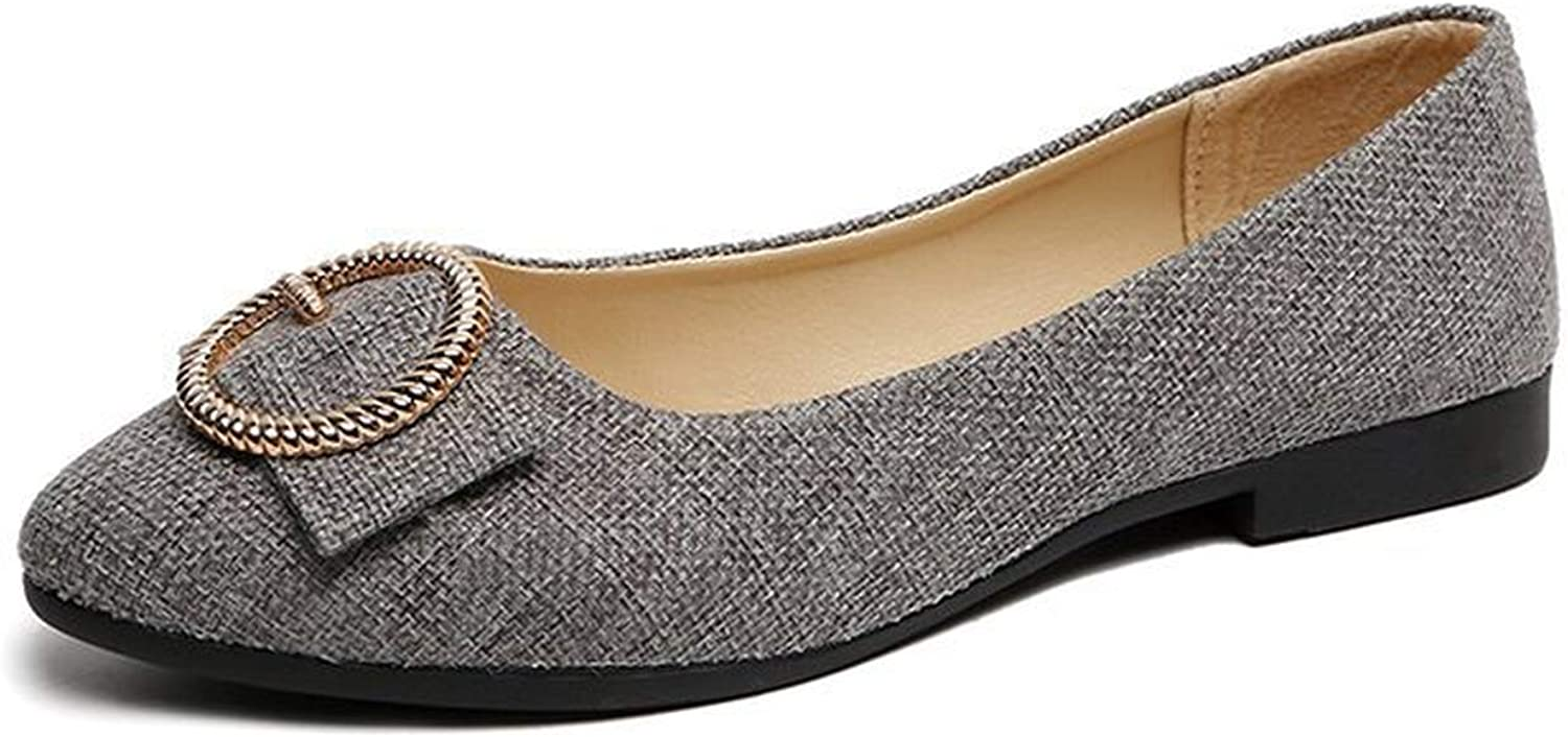 Four Seasons Platform Shoes Spring Casual Shoes Women 2019 Ballet Flats Pointed Toe Boat Shoes Women Offer,Gray,7.5