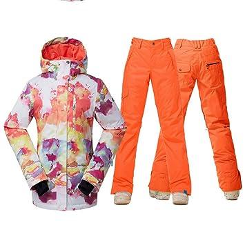 Zjsjacket Traje de Esqui Mujeres Chaquetas de Nieve y Pantalones Ropa de Snowboard Deportes al Aire Libre Trajes de esquí Conjuntos Impermeable a Prueba de ...
