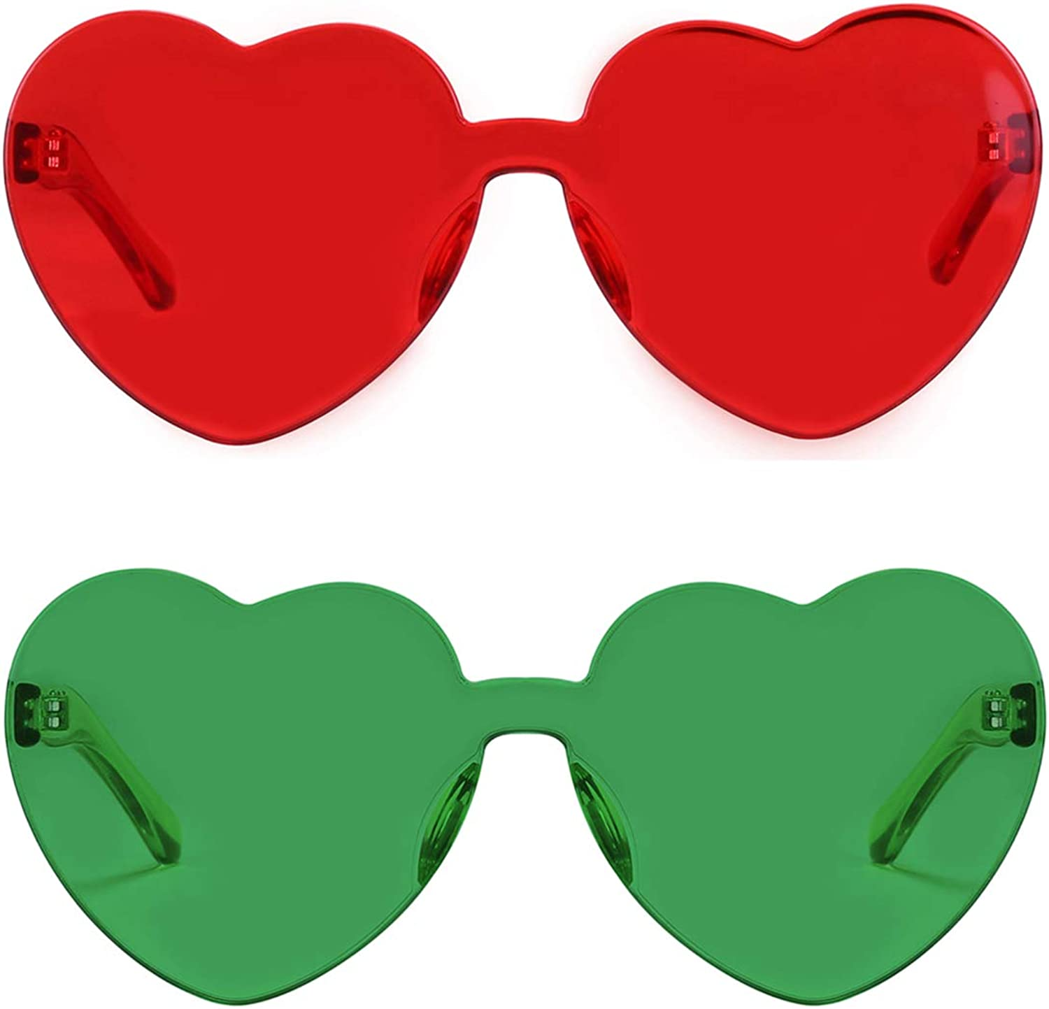 kilofly 3 Rimless One Piece Clear Candy Color Women Heart Shaped Sunglasses
