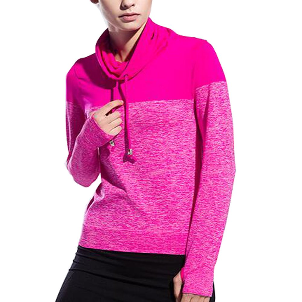 VOGUE CODE High Neck Quick Dry Running T-shirt High Elasticity Outwear Sweat Absorption T-shirt (M, rose red) by VOGUE CODE