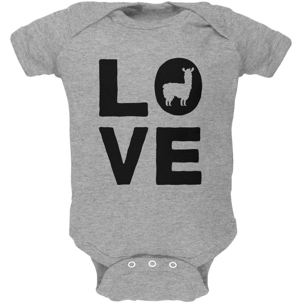 Old Glory Llama Love Series Soft Baby One Piece Heather 0-3 M