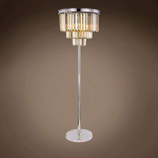 Amazon.com: Lámpara de pie de cristal de teca dorada con ...