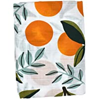 Perfeclan 2 Layers Baby Muslin Swaddle Blanket Unisex Swaddling Wrap Receiving Blankets for Boys and Girls,Large 47 X 47 Inches - Orange