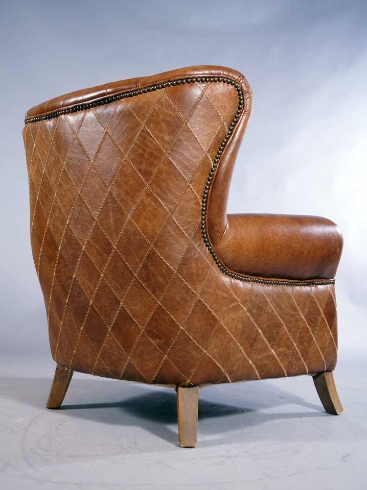 Ohrensessel Enfield Vintage Leder Whiskey Brown Messingnieten