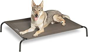 Bedsure Elevated Dog Bed Cot, Raised Pet Beds with No-Slip Feet, Stable Frame & Durable Supportive Teslin Recyclable Mesh, Breathable, Indoor and Outdoor, Multi Size Breathable Mesh (Grey)