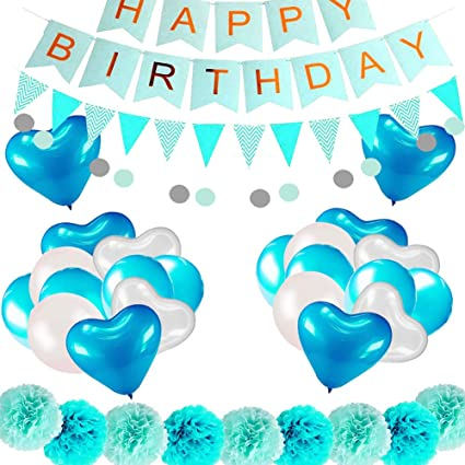 Amazon COLORFUL ELVES Blue Birthday Decorations For Boy Little