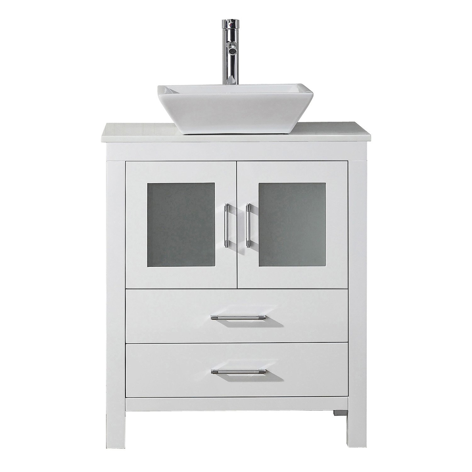 Virtu USA KS-70028-S-WH-001 Dior 28'' single Bathroom Vanity with Engineered Stone Top and Square Sink with Brushed Nickel Faucet and Mirror, White