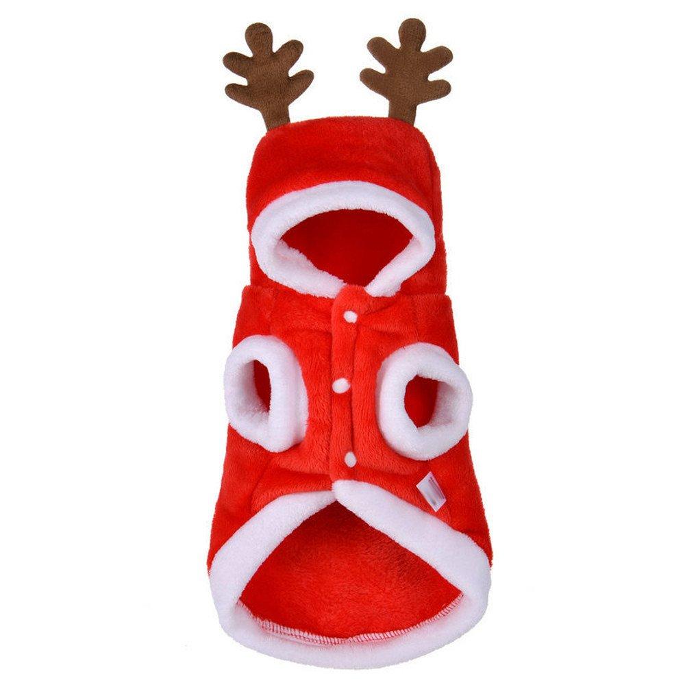 Tonsee Niedlich Hundebekleidung Hunde Super weich Fleece Kostüm Hundemantel Jacke Pet Supplies Kleidung Hunde Warme Mode Pullover Mit Kapuze Rot)