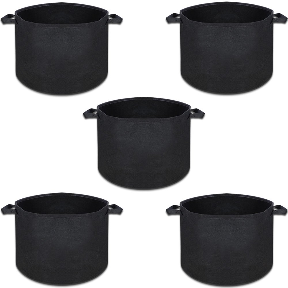 5pc Set Fabric Grow Pots Containers 10 Gallon Fabric Pot w/Handle 5 x GA-10 by Calnursery