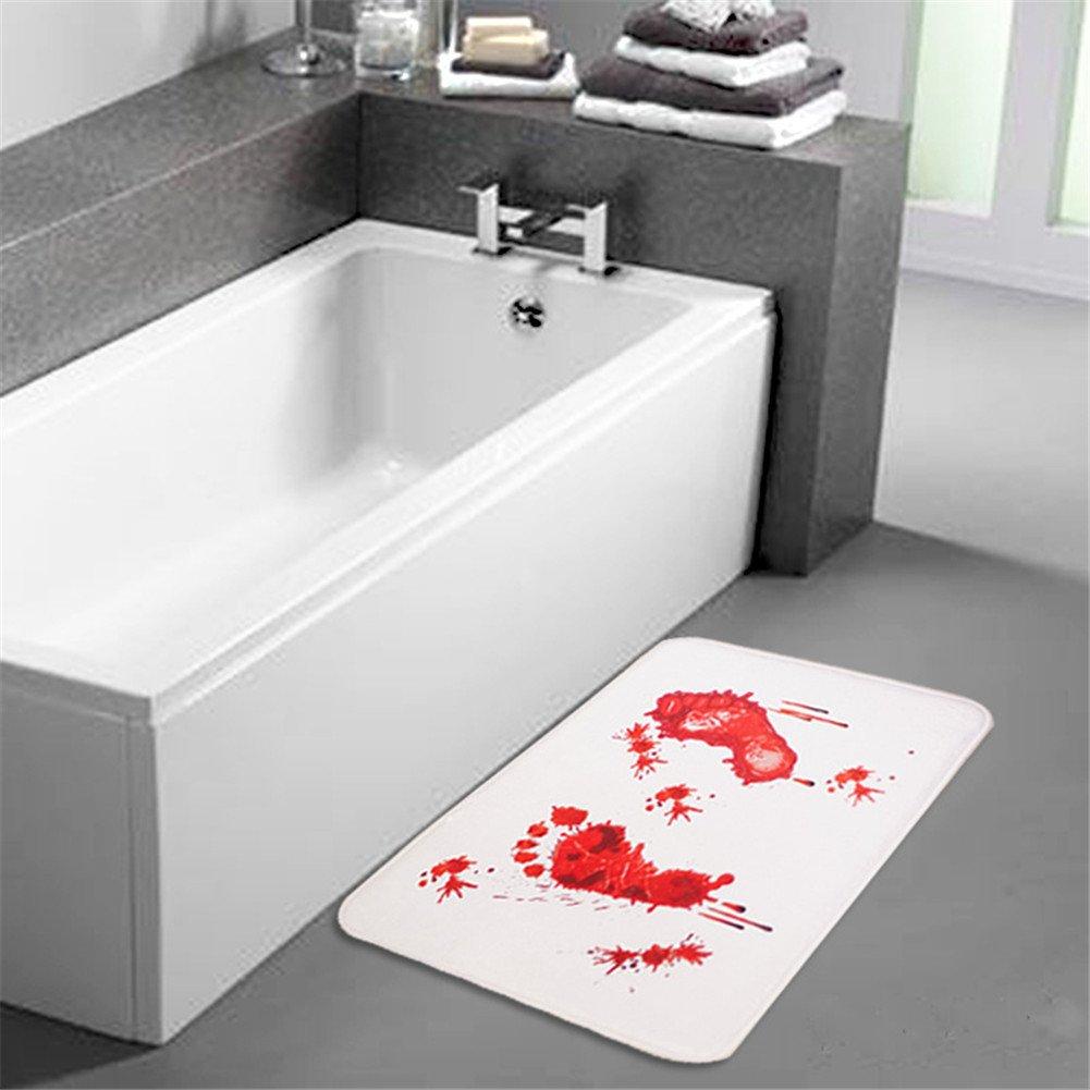 Blood Bath Mat - STEVE YIWU® Bloody Footprints Rugs For Bathroom, Water Absorption Non-slip Rug,Flannel Mattress Bathroom Bedroom Living Room Mattress Bathroom Mat SYW2409-CA